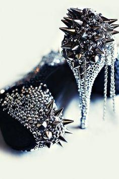 punk rock, fashion, spikes, wedding shoes, chain, lady gaga, pump, stud, killer heels