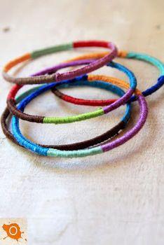 Thread wrapped bangle bracelets- cute!