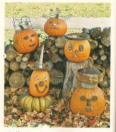 "Friendly pumpkins with repurposed ""junk""  :)"