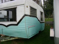 Retro Trailer, Teal, black and white Vintage RV | purchase through Amy's Vintage Trailers.