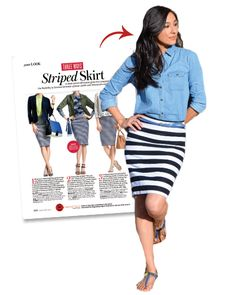 """Andrea Leiton of Park City, Utah looked perfectly pulled together in a striped skirt, chambray top, and blue sandals and belt inspired by May's """"Three Ways: Striped Skirt."""" Leiton gave InStyle.com the scoop on her ensemble, """"I'm a huge striped pencil skirt lover, and this outfit is so perfect to embrace summertime!"""""""