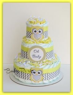 Yellow and Grey  Owl Nappy Cake