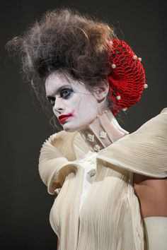 Fashion Week: Thom Browne Spring/Summer 2014 #halloween #in #style #makeup #make #up #face #paint #white #hair #re #lips #costume #outfit