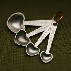 Quotes measuring spoons - heart-shaped hand cast pewter. $52.00, via Etsy.