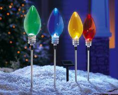 Set of 4 Solar Christmas Light Bulb Garden Stakes