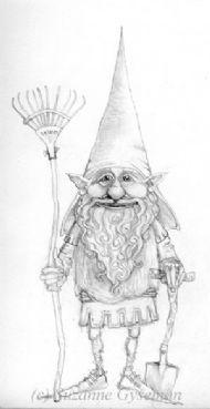 Edgar Noddle, the head of her garden gnomes.  Pencil sketch