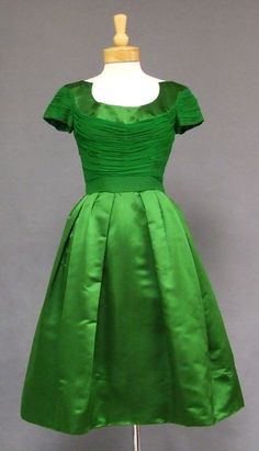 vintage green satin dress