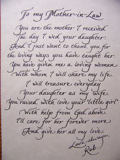 The Personal Touch: Mother In Law Poem - for the Bride's mom  Great Gift idea