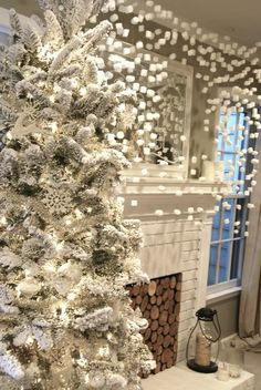 with hanging white lights     christmas party ideas