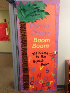 Our preschool speech door decoration. Done with butcher paper and construction paper. Big letters are from a die cut machine and the black ones are printed and cut out from Microsoft Word :)