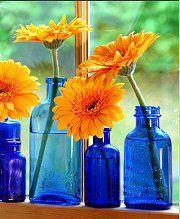 Blue Glass Daisies
