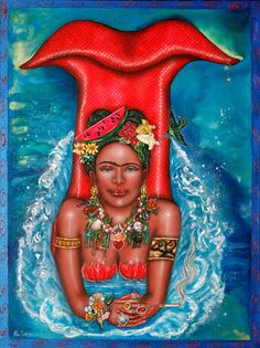 """Frida Makes a Splash"" - mermaid art by Ilene Satala"