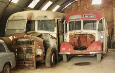 Old rusty vehicles #bus #work #van