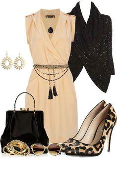 Mini cream color dress and leopard pumps