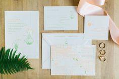 letterpress wedding invitations, photo by Troy Grover Photographers http://ruffledblog.com/colorful-wedding-at-hotel-ballard #weddinginvitations #stationery