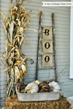 our vintage home love: Fall Porch Ideas....love the BOO banner hanging on the ladder