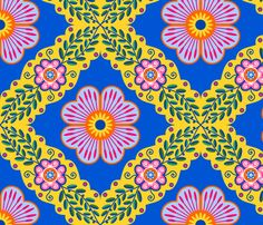 Portuguese Flowers fabric by yellowstudio on Spoonflower - custom fabric - kitchen curtains
