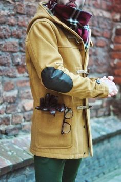 toggle coat with elbow patches