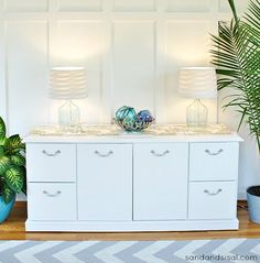 really good tutorial for how to paint laminate furniture.  From Kim at Sand and Sisal.