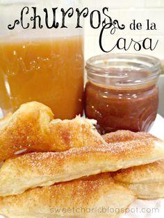 Churros de la Casa on MyRecipeMagic.com #churros #chocolate #caramel #dip
