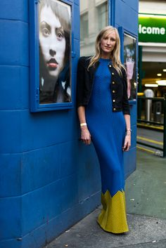 Street Style - blue maxi - monstylepin #streetstyle #fashion #maxidress #blue #trend