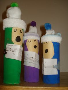 Christmas carollers.  Cute. #christmas crafts for kids