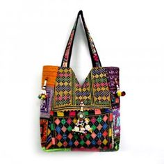 Hand embroidered patchwork and embellished Jhola Bag made by the women cluster of ROOPANTARAN
