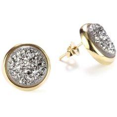 Marcia Moran Titanium Druzy Stone Circle 18k Gold-Plated Earrings
