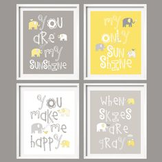Reminds me of @Christi Berglund : Yellow and Gray Nursery Decor Prints - You Are My Sunshine - Elephant and bird! This would be way cute with the grey and white elephant bedding from Pottery Barn.