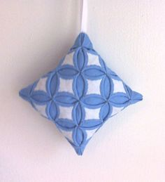 Christmas Tree Ornament Blue and White Miniature Cathedral Window Pillow - 4  Inches - $18 at Etsy