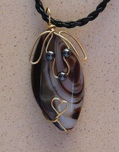 Unique Gold Wire Dog on White and Brown Agate Pendant Necklace
