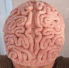 Knit a  simple stockinette skull cap then a boatload of i-cord.  Attach i-cord in squiggly brain-like patterns. Done!