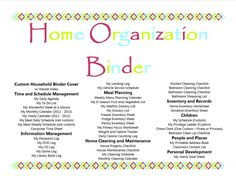 Home Organization Binder Contents - nice :-)