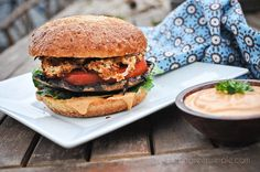 Grilled Portobello Burgers with Chipotle Mayo. #vegan