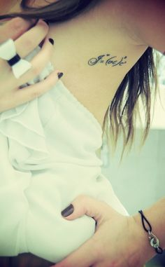 Her tattoo includes all the letters of her family members, it is in a way the happiness equation for her.