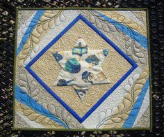 """""""JEWISH DIRECTIONS""""    Wall Hanging/Table Topper.  To Debbie, with love from your students in the Mother's Circle.  Quilts by Marisela original design.  18.5"""" x 16.5""""  Machine pieced, machine applique, free motion quilting.  QUILTS BY MARISELA"""