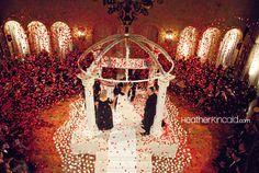 wedding ceremonies, southern california, weddings, roosevelt hotel, hanging flowers, wedding colors, hollywood roosevelt, rose petals, california wedding