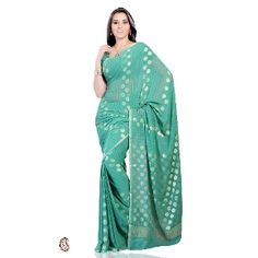 Green georgette saree -- Look absolutely fabulous dressed in this green shade georgette saree with exquisite designs and patterns. The charming designs adorning the body and pallu is embellished with golden zari weave. The gorgeous decorative border of crushed tissue framing the saree is absolutely fabulous. $51