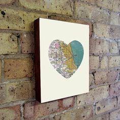 Chicago Art City Heart Map  Wood Block Art Print by LuciusArt, $39.00