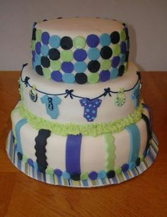 Boy baby shower cake. The onesies are adorable!