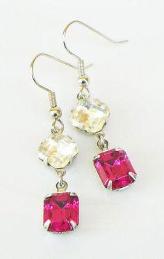 Fuchsia Pink Rhinestone Earrings