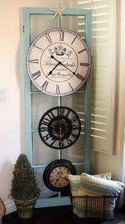 Old screen door & clocks!! So neat!!.