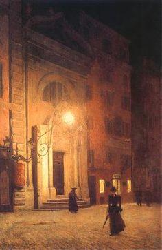Aleksander Gierymski. Polish (1850-1901) - Street in Rome at night, 1890