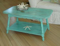 coffee tables, benches, colors, aqua coffe, furnitur redo, vintag aqua, furniture, coffe tabl, beachi vintag