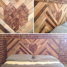 DIY Headboard, Reclaimed Wood, ItsOverflowing 5 - love the mix of dark and lighter wood in the herringbone