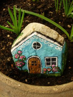 Blue House (painted rock)