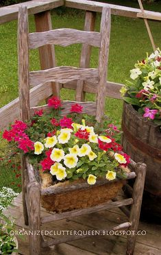 garden planters, wooden chairs, garden chairs, rustic look, chair planter