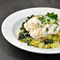 Steamed Cod Over Greens with Bacon and Meyer Lemon Gremolata www.pinchandswirl.com