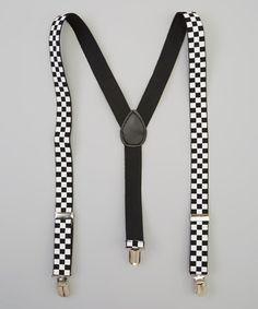 Black & White Checkerboard Suspenders