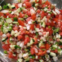 cucumb tomato, chip dips, tomato salsa